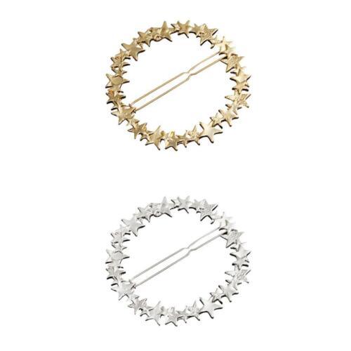 2pcs Large Circle Barrette Pin Hair Stars Holder Hairpin Hair Slide Clips