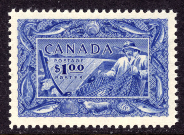 CANADA #302 $1 BRT ULTRA, 1951 FISHING RESOURCES, VF, OG-NH