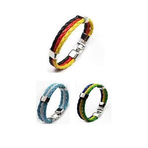 Armband-Fan-PU-Leder-Deutschland-WM-EM-Flaggen-Verschluss-verchromt-Mehrfarbig
