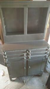 Image Is Loading Vintage Metal Steel Medical Aseptic Dental Cabinet