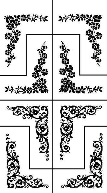 Armour Rub 'n' Etch Glass Etching Stencil Flower Floral Corners