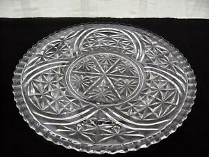 Anchor-Hocking-Glass-Clear-Stars-amp-Bars-12-3-4-034-Serving-Platter-Tray-Cake-Plate