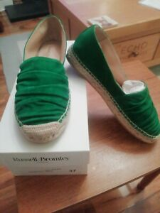 Russell-amp-Bromley-Green-Suede-Ruffle-Flat-Espadrilles-size-37
