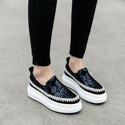 A Womens Lady Luxury Rhinestone Creepers Platform Shiny Loafers Sneaker Shoes