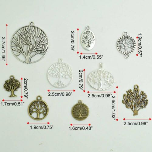 Bonayuanda Pack Of 50 Alloy Tree Of Life Charms Pendents Jewelry Findings For Ma