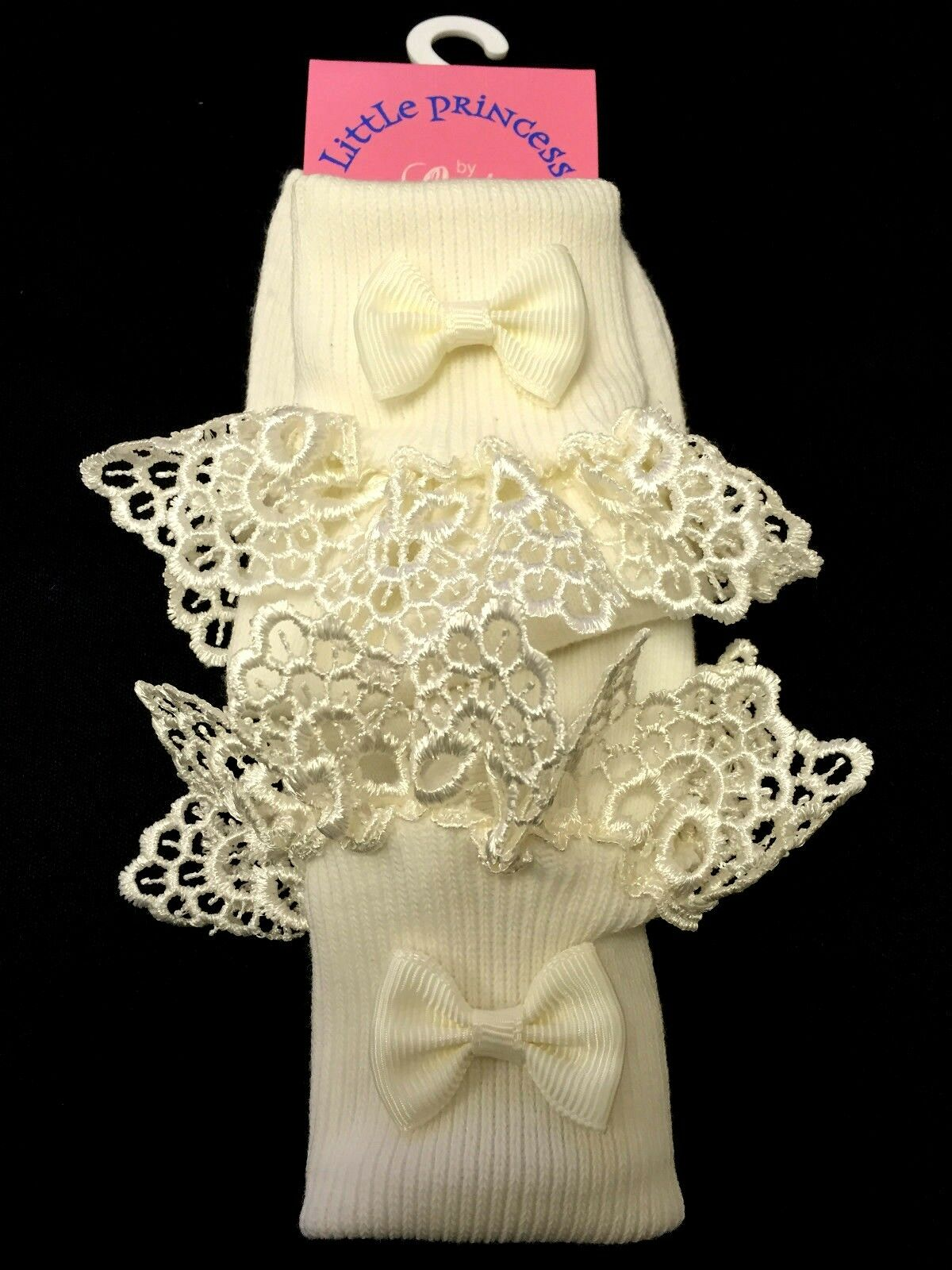 GIRLS IVORY FRILLY ANKLE BOW OCCASION SOCKS EMBROIDERED WEDDING PARTY ALL SIZES