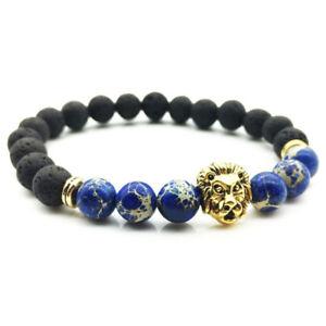 Handmade-Lava-Rock-Bracelet-Natural-stone-Beads-Buddha-lion-Head-Agate-Nice