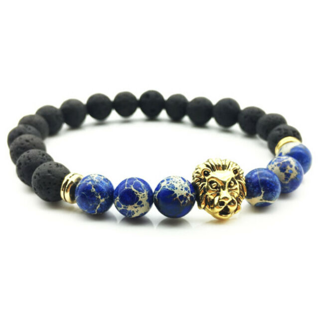 Handmade Lava Rock Bracelet Natural stone Beads Buddha lion Head Agate Beaded FG
