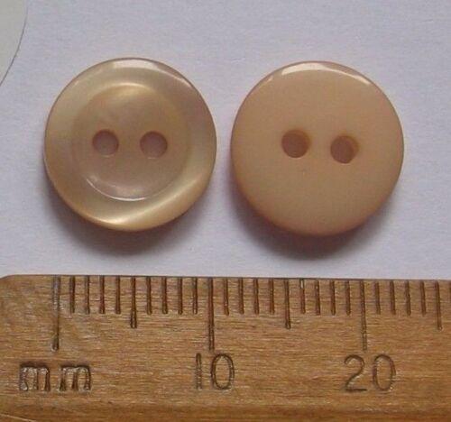 10 X Pequeño Beige Marrón Claro Botones De Plástico Redondo Tejer Coser 11mm 2 orificios