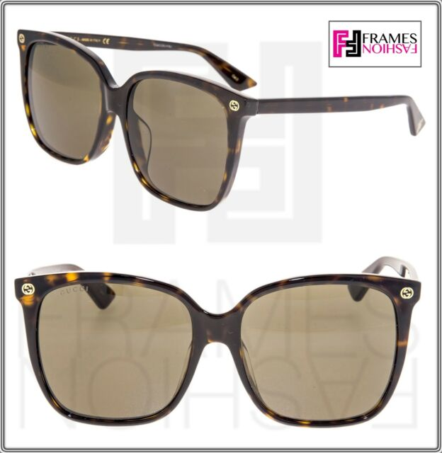 42f33ceaa09c3 Frequently bought together. GUCCI 0022 Oversized Square Brown Havana  Sunglasses ...