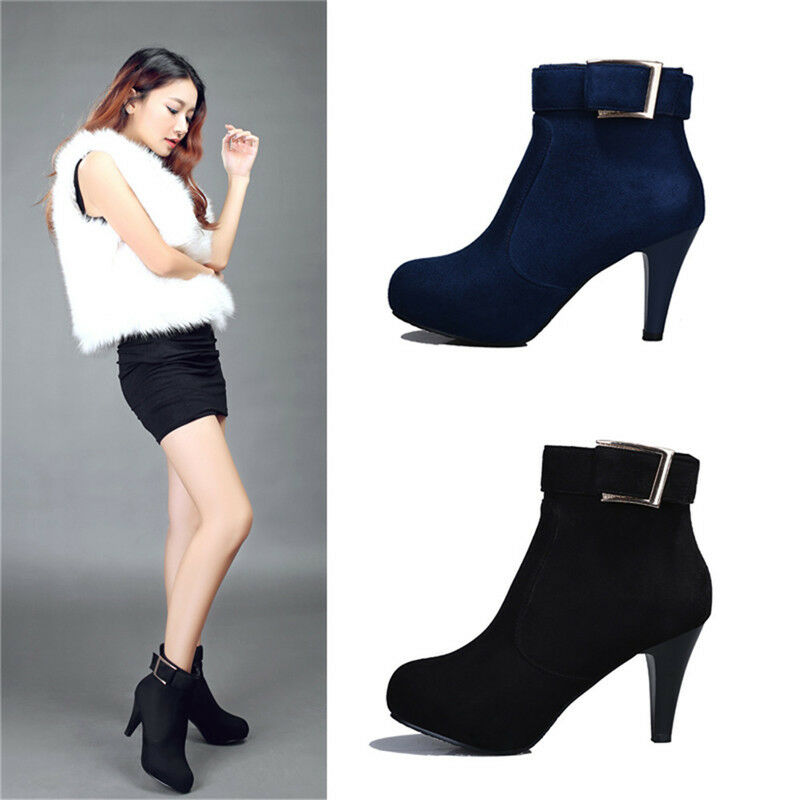 Women High Heel Round Toe Side Zip Ankle Boots Solid Fluff Lining Winter Booties