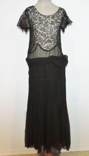 1930's Black Silk Chiffon / Lace Flapper Dress SM
