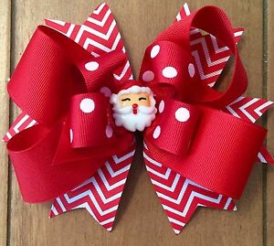 01ee86cf77234 GIRL S CHRISTMAS - SANTA HAIR BOW HAIR BOWS BOWS - 6 INCH HAIR BOW ...