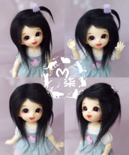 "New Hot 5-6/"" 14cm Black Fabric Fur Wig For AE PukiFee lati 1//8 BJD Doll Antiskid"