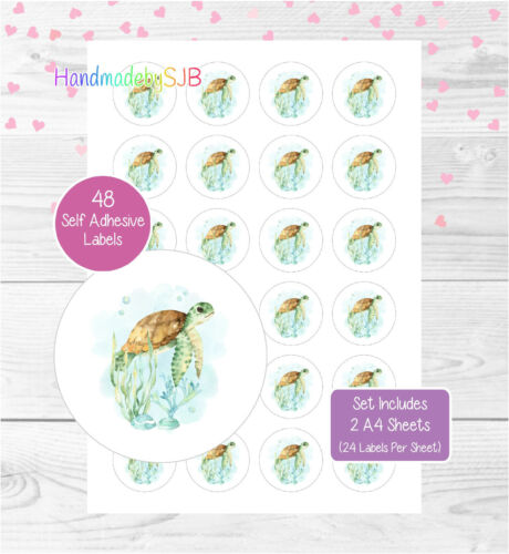 48 Round Labels For Envelope Seals//Party Bags//Favours//Gifts Sea Turtle Stickers