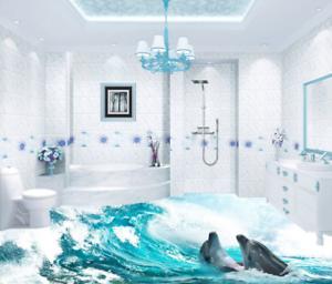 3D Waves Dolphins 4 Floor WallPaper Murals Wall Print 5D AJ WALLPAPER UK Lemon