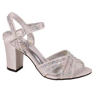 8555db0e4b9 Women Pierre Dumas AVA 2 38428508 Silver Ankle Strap Block Heel Pump ...