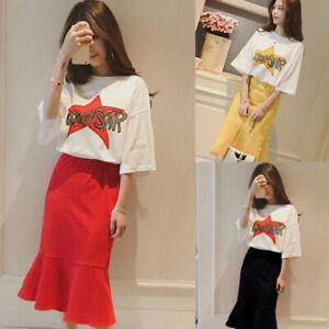 307abb278e51c Details about 2pcs Korean Women Letter Print Set Short Sleeve T Shirt +  Fishtail Skirt S TPO