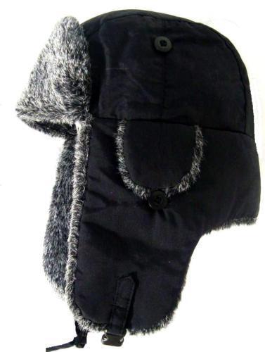 9e7f768e229 Russian Fur Ushanka Hat Ladies Black   Grey Ski Trapper Womens Winter  Cossack
