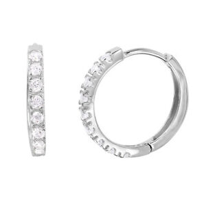 Image Is Loading 925 Sterling Silver Round Shape Hoop Earrings W