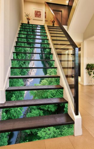Details about  /3D Forest river 4 Stair Risers Decoration Photo Mural Vinyl Decal Wallpaper UK