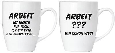 Becher Tassen 2er-Set Lustige Sprüche Kaffee jammert nicht Geschenk-Karte