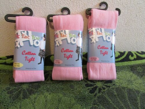 NWT~ LITTLE GIRLS TIC TAC TOE PINK COTTON STRETCH TIGHTS PETITE 2-4 YEARS OLD