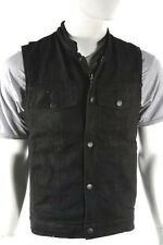 Mens Black Denim SOA Collarless Motorcycle Club Biker Vest - Gun Pocket