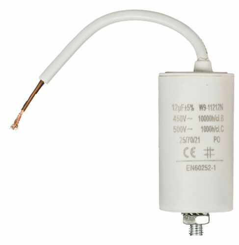 CABLE NORME EN60252 NEUF //-5/%  450V CONDENSATEUR MOTEUR ELECTRIQUE 12μF 12uF