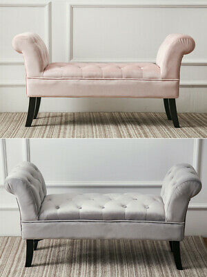 Pink Grey Soft Sofa Velvet Bench Ottoman Bed End Seat Bedroom Lounge Stool Uk Ebay
