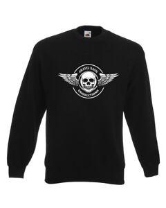 BIKER SWEATSHIRT Jumper Motorbike Motorcycle Cafe Racer Bike Mens Funny Skull