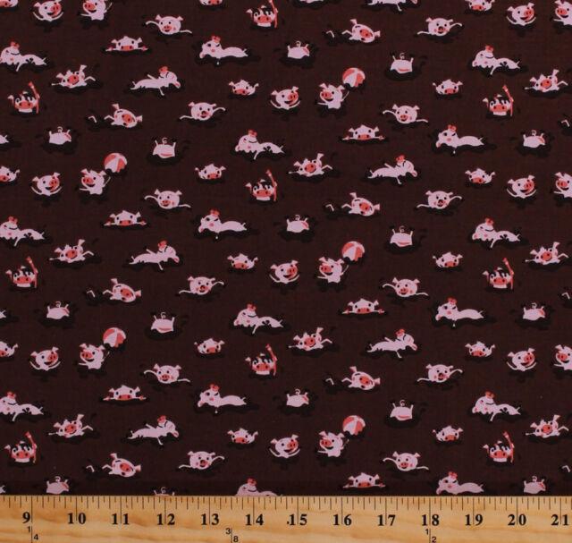 Pigs Piglets Mud Farm Animals Kids Brown Cotton Fabric Print by the Yard D692.36