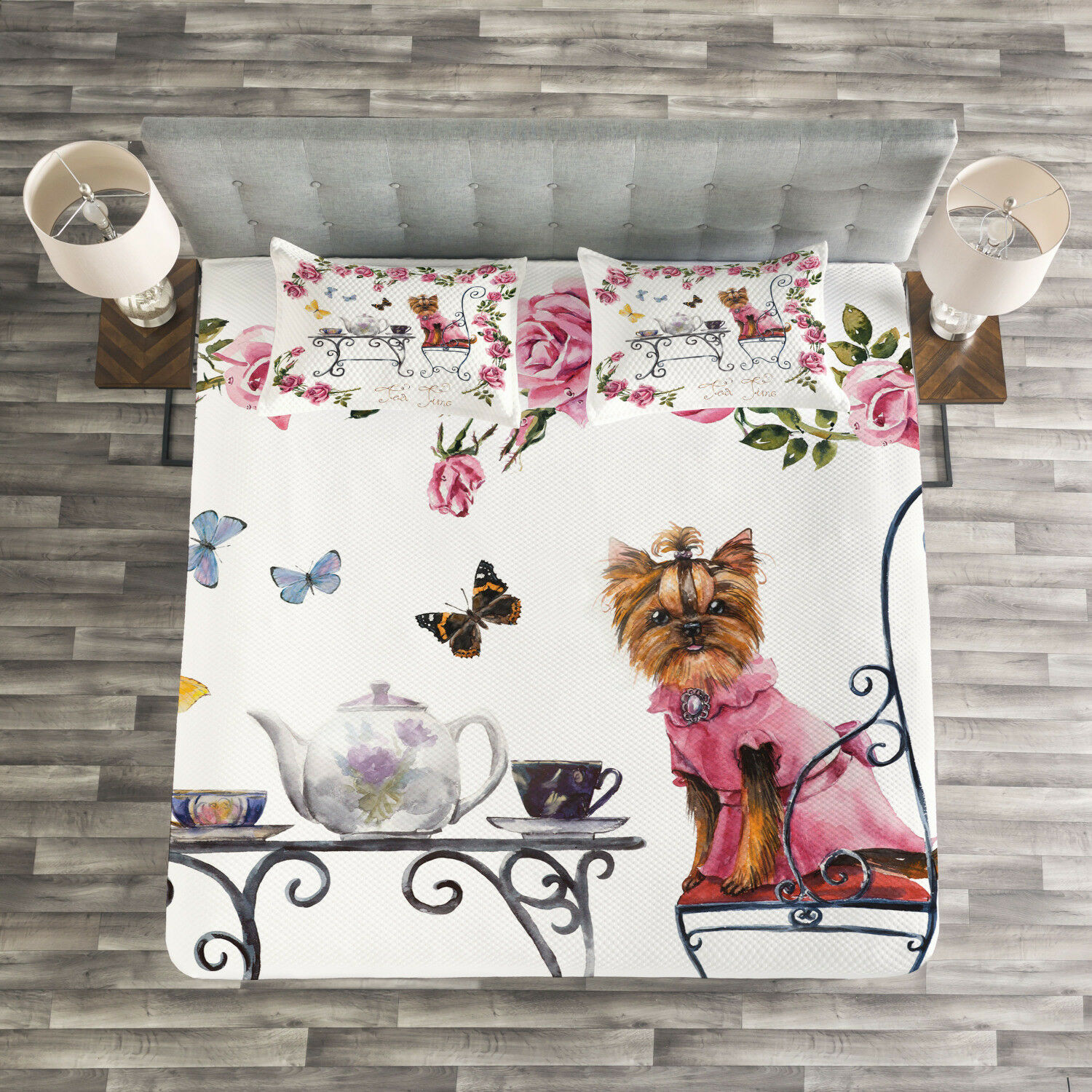 Yorkie Quilted Bedspread & Pillow Shams Set, Terrier in Pink Dress Print