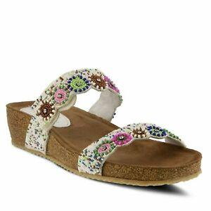 Azura-Women-039-s-Bahama-Beaded-Leather-Slide-Sandal-White-Multi-EUR-36-US-5-5-6-NWB