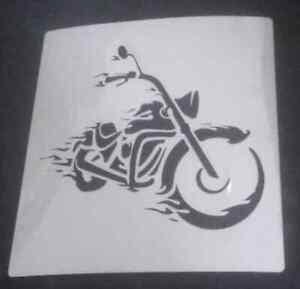 Chopper-motorbike-Wall-art-decal-stencil-choose-3-034-8-034-high-350-micron-mylar