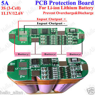 5A 11.1v 12.6v 3S 3 Cell Packs 18650 Li-ion lithium Battery Protection Board