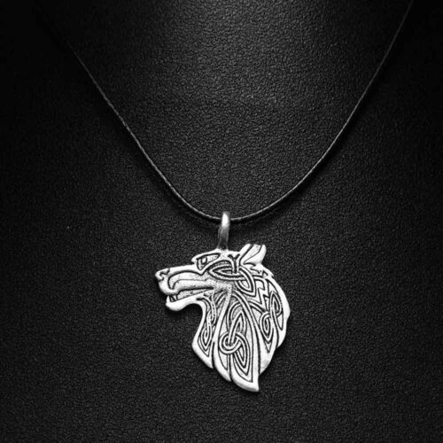 New Norse Viking Wolf Dog Celtic Amulet Rune Necklace Leather Cord Gift Bag