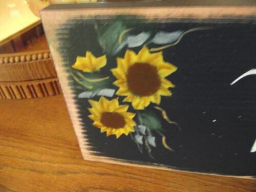 WELCOME wood sign country Primitive  h//p sunflowers