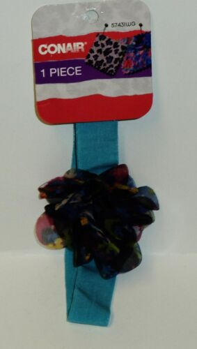 Conair Head Band Bluish With Multi Color Flower Carded #57431WG