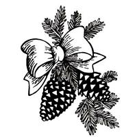 Pine Cones & Bow, Christmas Unmounted Rubber Stamp 7