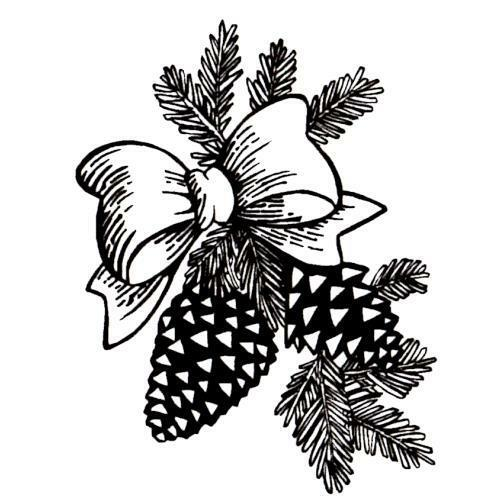 PINE CONES /& BOW Christmas unmounted rubber stamp winter festive holiday #7