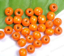 FREE SHIP 50PCS Orange Wood Round Spacer Charms Beads 8MM