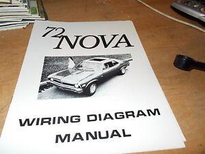 1972 Chevrolet Nova Wiring Diagram Manual Ebay