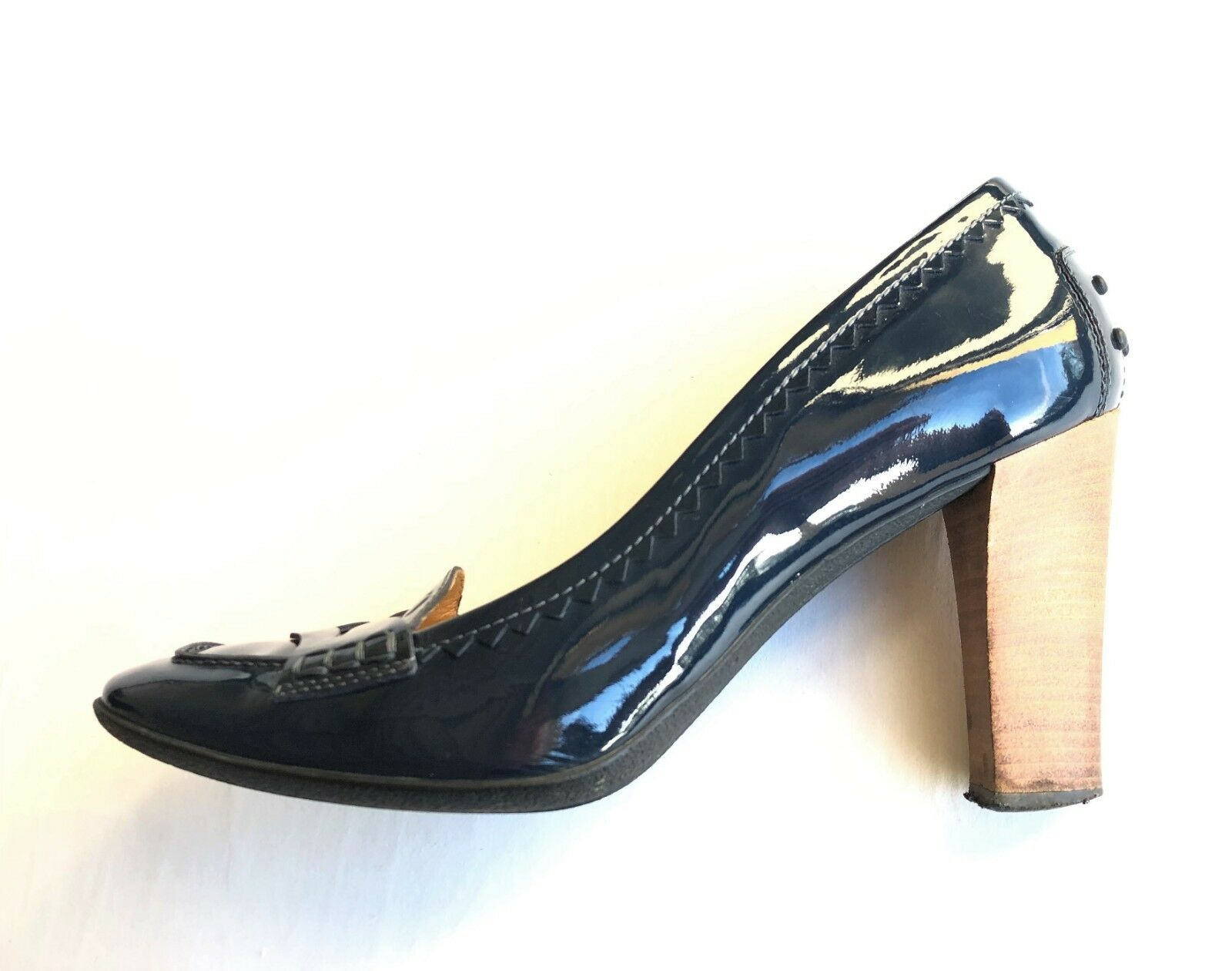 TOD'S navy navy navy patent leather pumps moccasins  - size 39,5 - shoes Tods 87b852