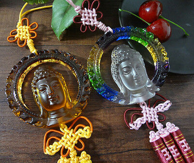 Liuli Feng Shui Crystal Buddha Statue Car Hanging Decorations Special Lucky Gift