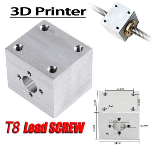 Aluminum 3D Printer Screw T8 Nut Converter Quartet Block Screw Nut Housing Seat