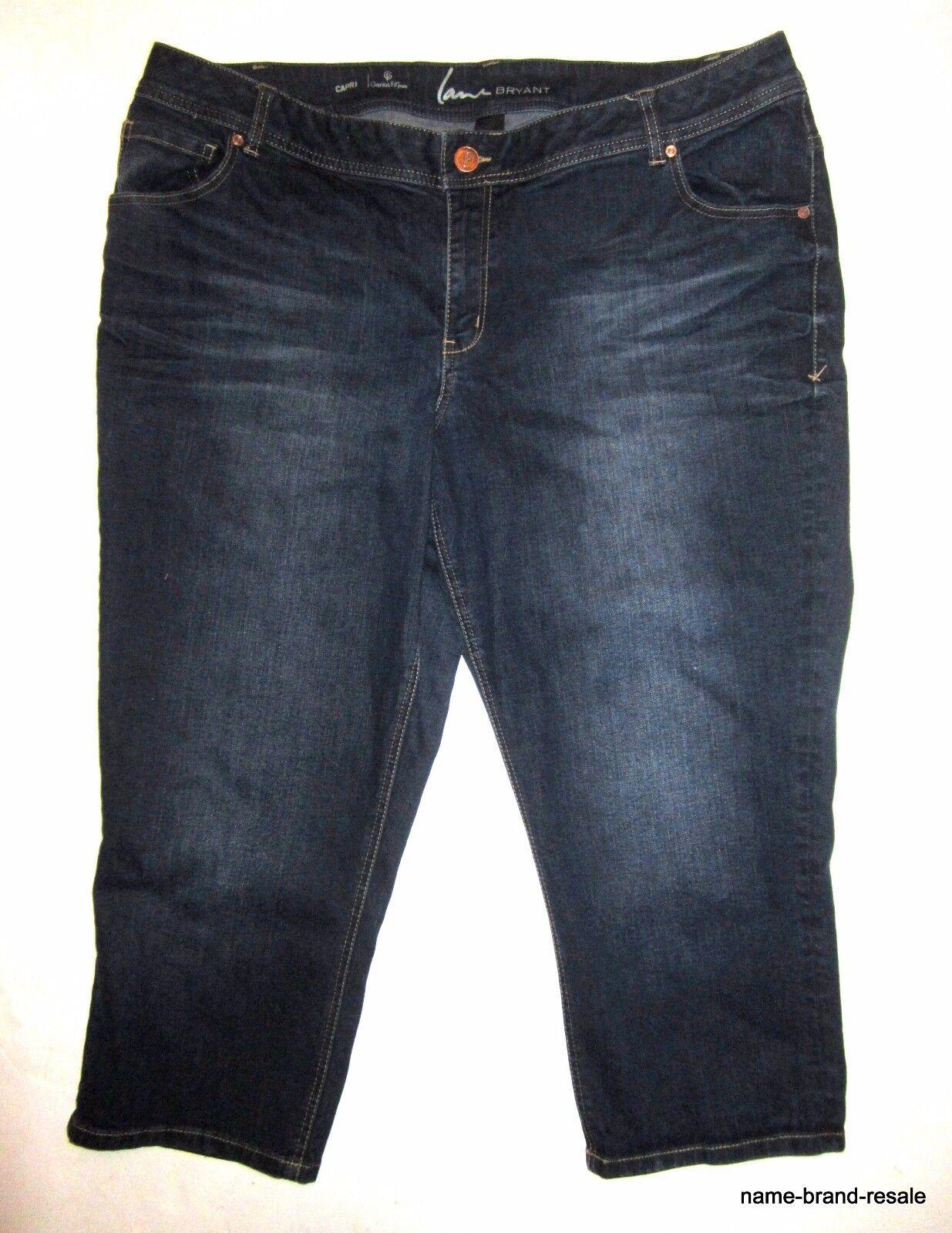 LANE BRYANT Genius Fit CAPRI Jeans WOMENS PLUS 22 3X Cropped Stretch Dark Wash