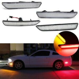 4x Front Rear LED Clear Side Marker Lamps Turn Signals For Ford Mustang 2010-14