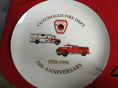 1928 to 1998 Cutchogue Fire Department 70th Anniversary Glass Plate