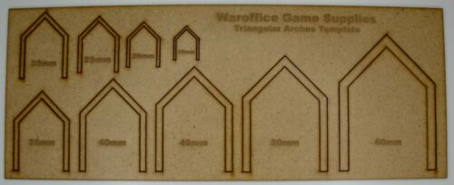 MDF TRIANGULAR ARCHES TEMPLATE WARGAMES DND TRAINS SCENERY WARHAMMER MODEL